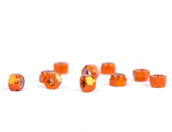 M3 Orange Aluminum Locknut | 10 Pack