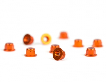 M3 Flanged Orange Aluminum Locknut | 10 Pack