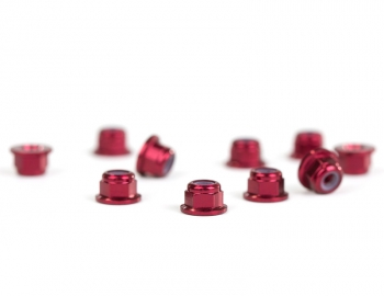 M3 Flanged Red Aluminum Locknut | 10 Pack